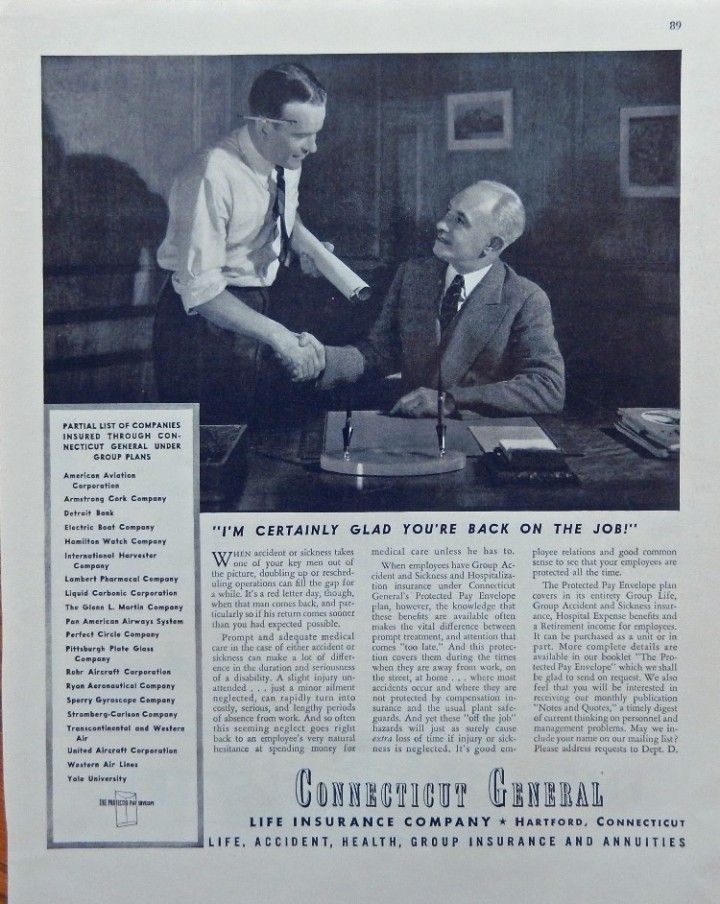 Connecticut General Life Insurance Company 1944 Print Ad