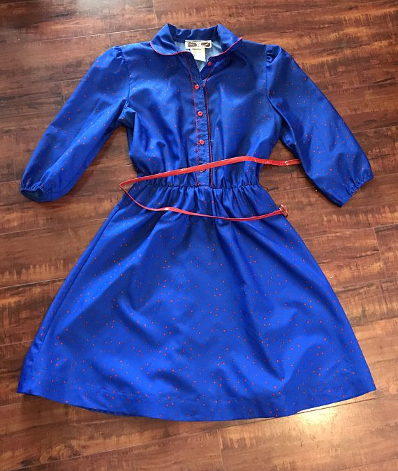 1970's Retro Ladies Bright Blue Dress With Red Polka Dots