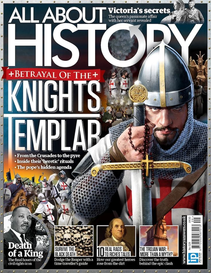 All About History – issue 29 – 2015. – The Poor Fellow-Soldiers of Christ and of the Temple of Solomon, also known as the Order of Solomon's Temple, the Knights Templar, or simply as Templars, was a Christian military order recognised in 1139 by papal bull Omne Datum Optimum of the Holy See. The order was founded in 1119 and active from about 1129 to 1312.