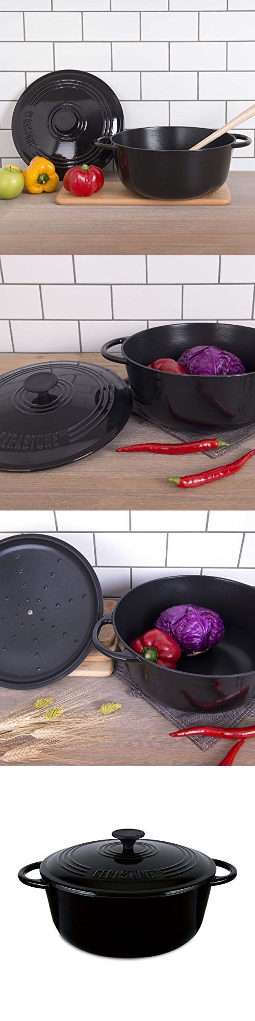 CeraStone Cast Iron CCI0116 Ceramic Coating Interior And Color Enamel Coating Exterior Dutch Oven Cookware, Black