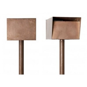 Robert Plumb Steve Hart Post Mounted Letterbox: Large entry slot will fit A4 size packages. Detachable post for wall mounting if needed. Post and box sold separately. Constructed from copper these boxes will patina beautifully over time.
