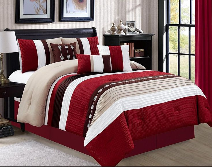 """Reinvent your bedroom decor with this luxury comforter set. Luxury 7 piece comforter set bed in a bag. Queen size include: One comforter 90""""x90"""" two shams: 20""""x26"""" one bed skirt: 60""""x80"""" 14"""" one cushion 16""""x16"""" one breakfast pillow - one neck roll dia. 