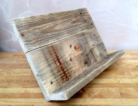 Cookbook Stand Made From Reclaimed Pallet Timber And Handwaxed For Protection Recipe Book Holder Handmade Waxed