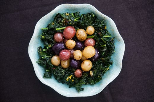 This dish will steal all attention from your centerpieces. Dinosaur Kale with Colorful Baby Potatoes, from Simply Recipes.