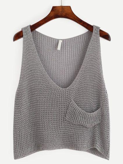Top corto de punto con bolsillo - gris