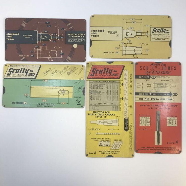 Vtg Scully-Jones Ad Engineer Slide Rule Calculator Drill Metal Stub Taper Lot 5
