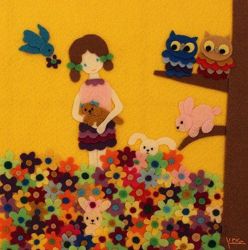 Handmade Felt Art Garden Friends Wall Hanging by Gaoui on Etsy, $240.00