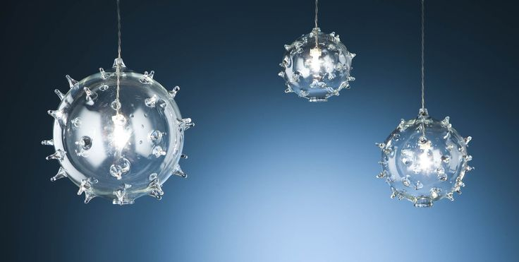 Diatomea. Clear blown glass lighting fixture. Made in Italy.
