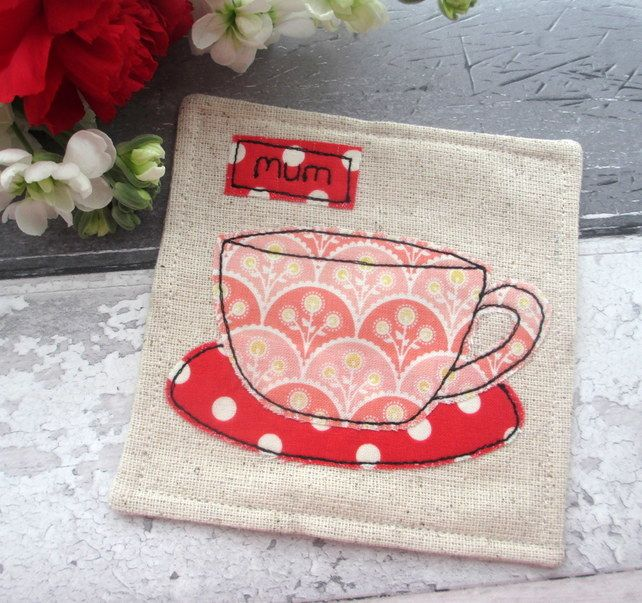 Fabric Coaster - Personalised Gift for Mum - Fabric Gift £6.50