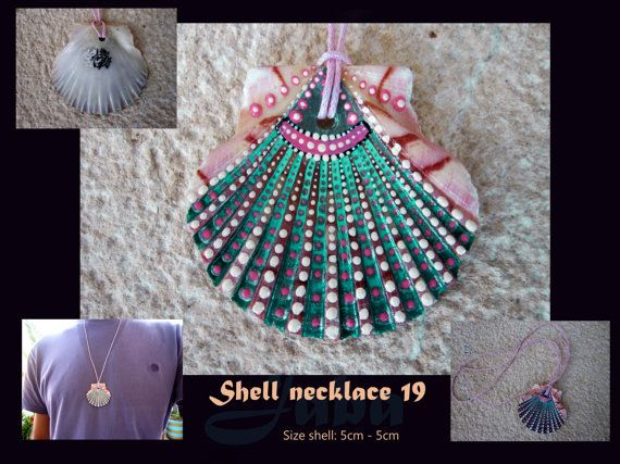 Unique hanpainted shell necklace by Jaba