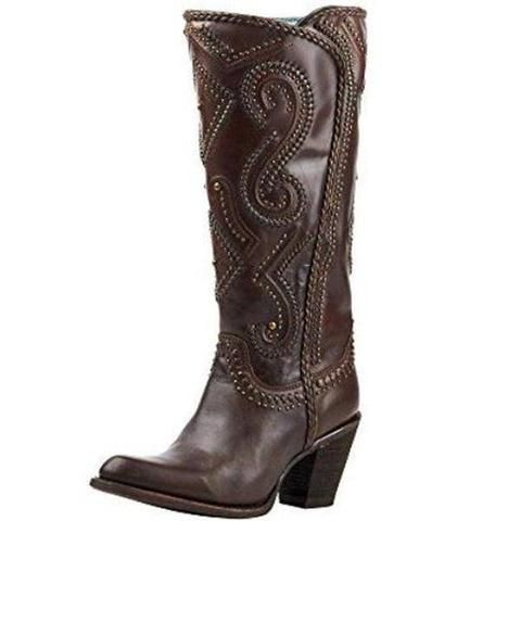 bb4394cea3a Corral Women's Brown Studded and Whip Stitched Round Toe Cowgirl ...