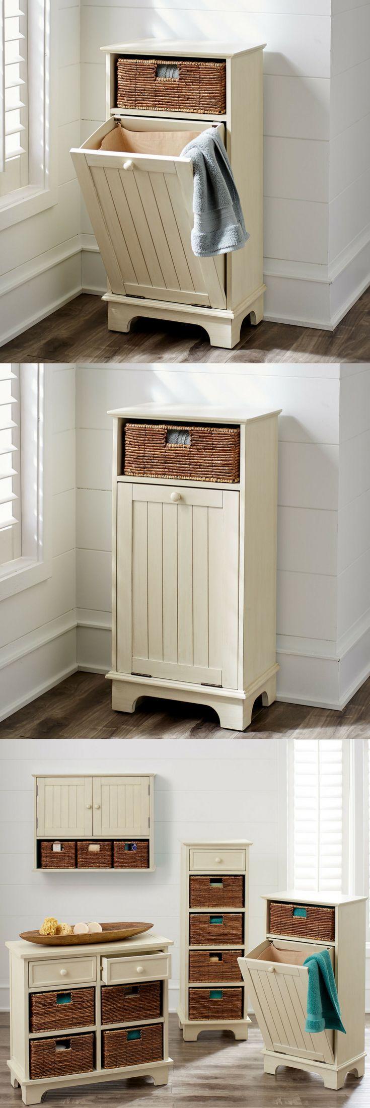 LOVE this hamper!!! Antique-style tilt out hamper; Farmhouse hamper with wainscot detail, bedroom decor, home decor, laundry hamper #affiliate #ad