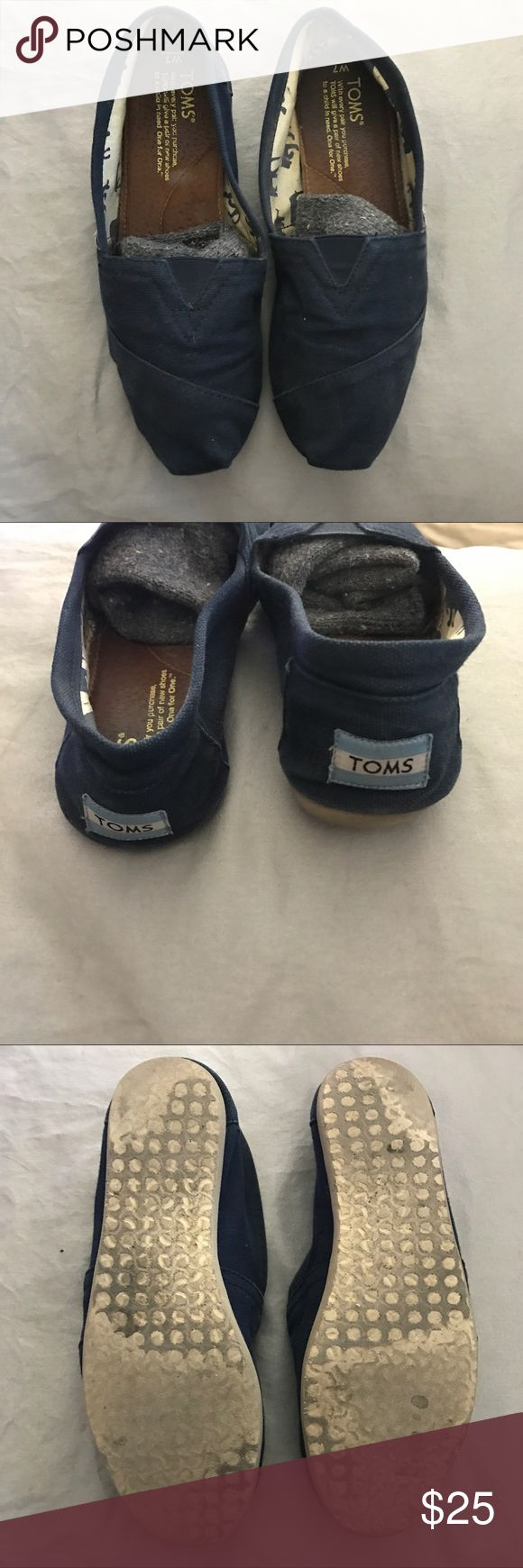 Navy blue Toms Previously loved (with care) navy blue Toms. Size 7! Condition as shown in pics above. Retail for $50. Any questions?? Feel free to ask :) Don't forget to make offers or bundle for a discount! Thanks for shopping my closet! TOMS Shoes