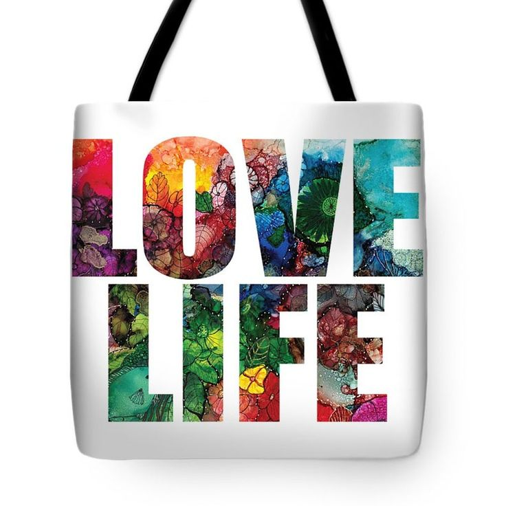 Tote Love Life Word Art Sunrise Garden Explosion Word Art