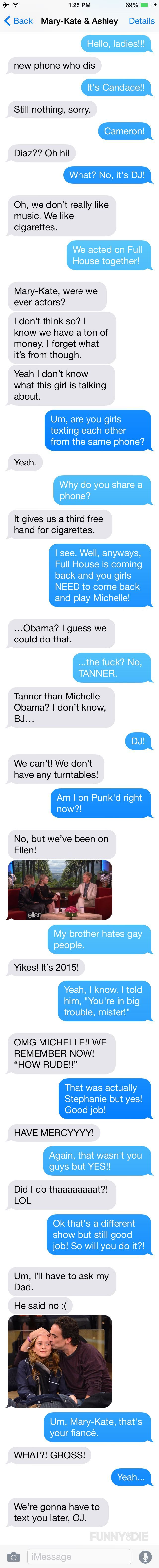 Candace Cameron texts the Olsen twins to be on the Full House sequel.