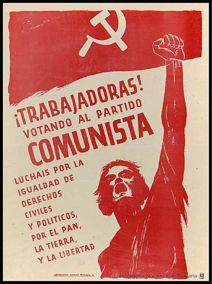 Trabajadoras! : votando al Partido Comunista luchais por la igualdad de derechos civiles y políticos, por el pan, la tierra y la libertad :: Cartells del Pavelló de la República (Universitat de Barcelona)