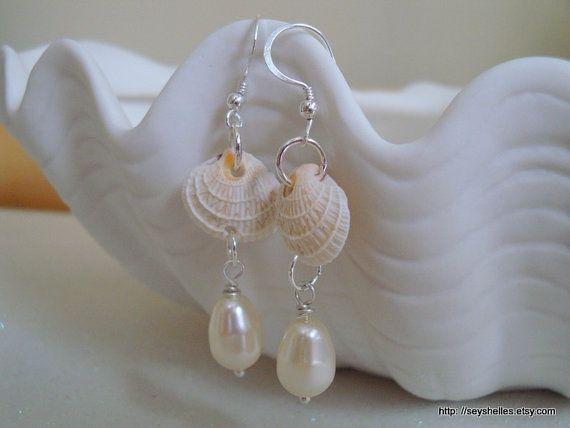 Sea Shell Earrings by Seyshelles on Etsy, $22.00