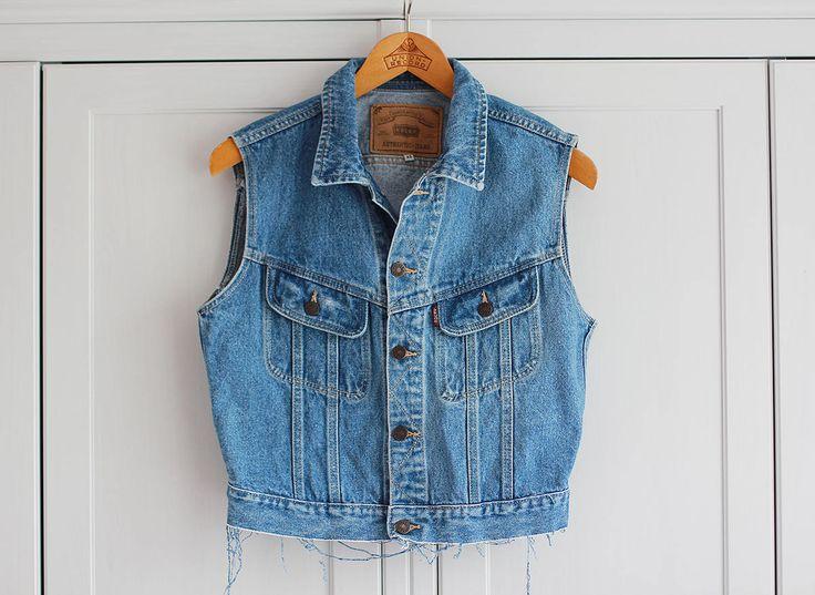 ROCKY Denim Vest Destroyed Ripped Sleeveless Top Vintage Retro