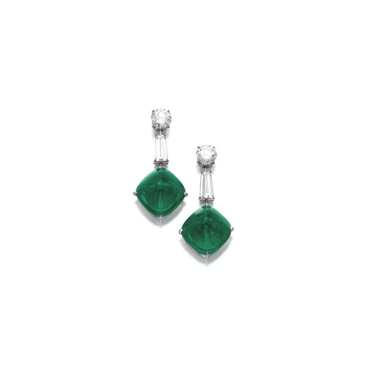 Pair of emerald and diamond earrings Each set with a sugarloaf emerald weighing 13.01 and 14.56 carats respectively, on a brilliant-cut and tapered baguette diamond surmount, the brilliant-cut diamonds weighing 1.14 and 1.17 carats respectively.
