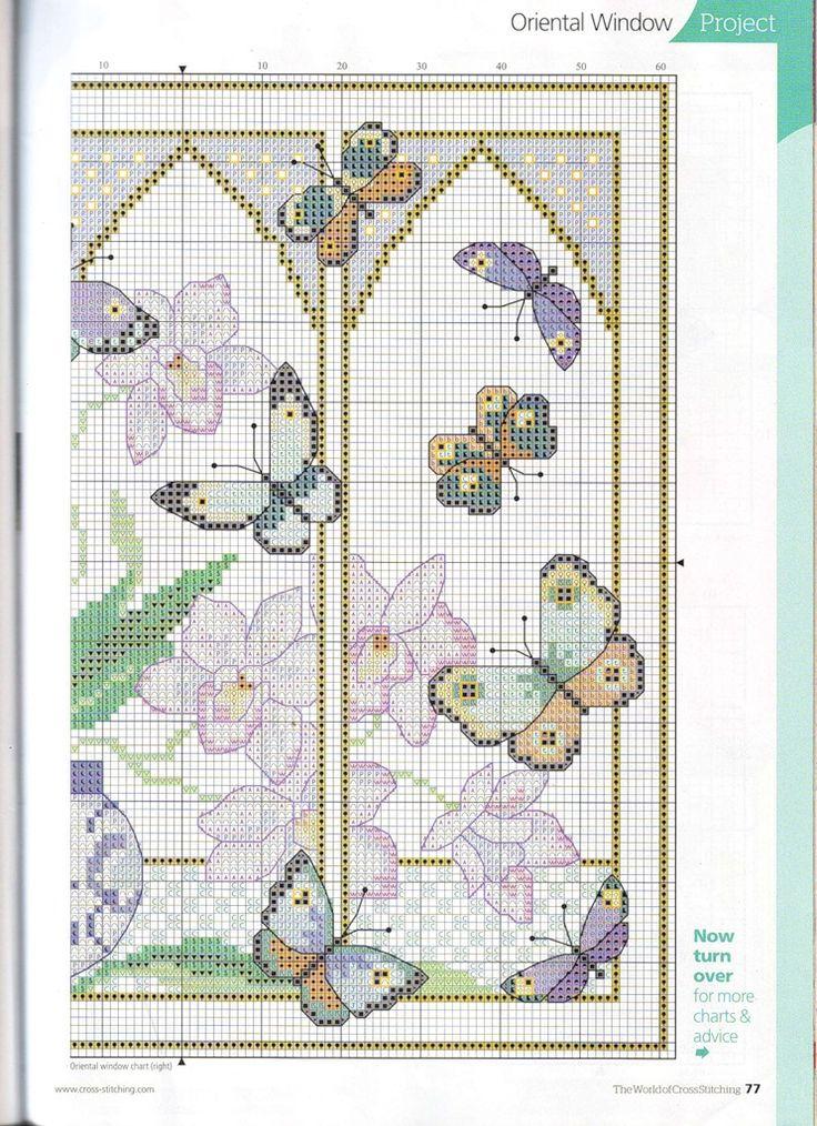 Cross-stitch Oriental Window with Butterflies, part 3...  color chart on part 2...   Наталья Крупинова — «254.jpg» на Яндекс.Фотках