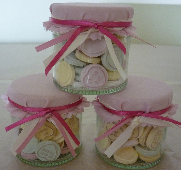 Love Heart Filled Wedding Favour Sweet Jar by dreamfavours on Etsy