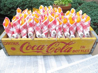 Parties For Pennies - Nautical themed party; old coca-cola box with the utensils & the lifesavers tied on