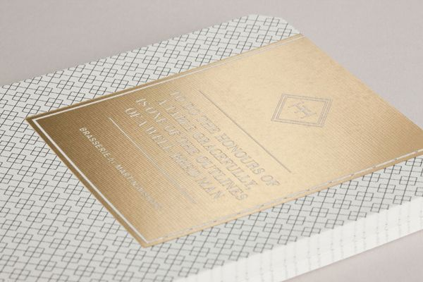 Gold foil print work for Edinburgh-based and Parisian-influenced brasserie The Honours designed by Touch.