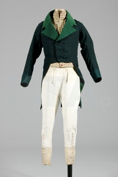 Beautiful hunting coat, and leather breeches made for wearing inside riding boots.  The waistcoat is beautiful, made from late 18th century silk.