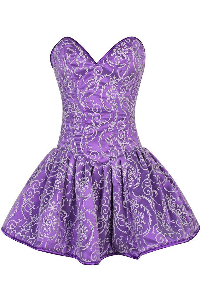 Top Drawer Regal Purple Steel Boned Corset Dress