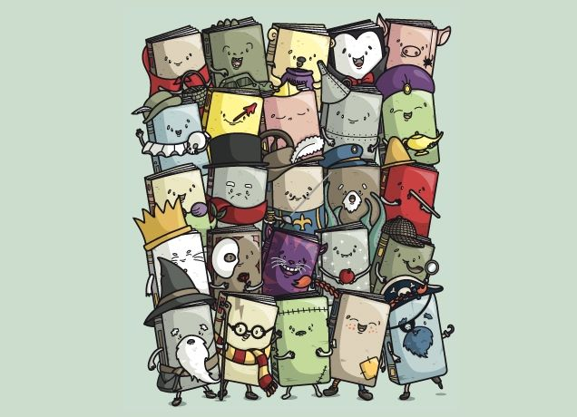 Sooo, I got this as a Christmas gift...it's actually on a t-shirt and it's super cute.  It my mission to figure out each book cover!