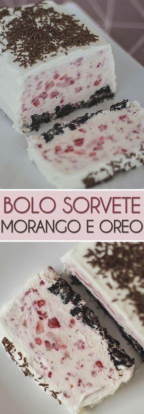 Uma sobremesa deliciosa e super fácil de fazer de sorvete de morango com uma base super crocante de Oreo. Ninguém vai acreditar que foi você quem fez. #oreo #sorvete #morango #receita #sobremesa #sobremesagelada #verão