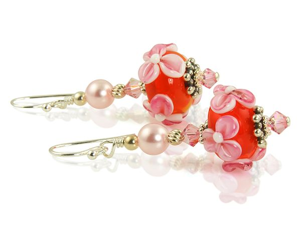 Pink Floral Lampwork Bead Earrings