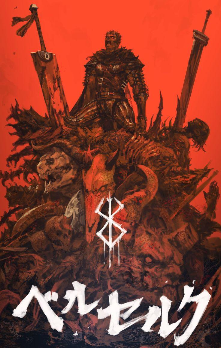 anime fantasy art Berserk Guts Black Swordsman