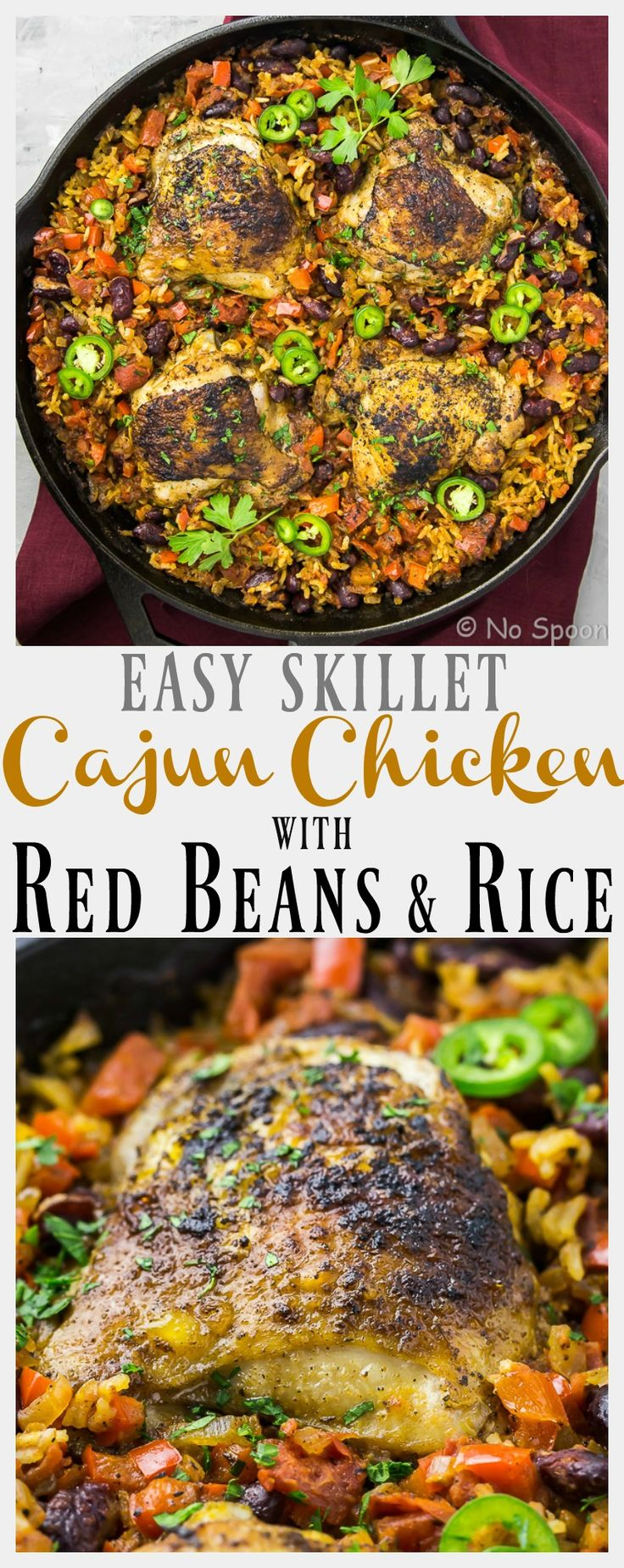 Skillet Cajun Chicken with Red Beans & Rice - fast and flavorful, this dish is made in ONE skillet with only 8 ingredients!
