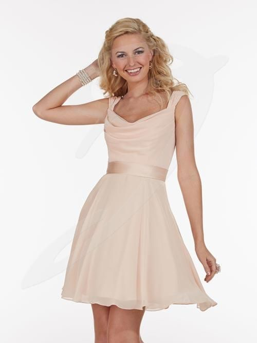 Balletts Bridal - 20595 - Bridesmaids by Jacquelin Bridals Canada - Chiffon tank short gown with Cowl neck. Satin band at waist