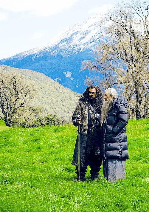 "Richard Armitage and Sir Ian McKellen on location for ""The Hobbit.""  (Note: Armitage is taller!  And Sir Ian's puffer coat...)"