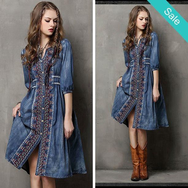 Bohemian Denim Vintage Dress - Bohemian Vintage DressMaterial: Cotton,PolyesterDresses Length: Knee-LengthNeckline: V-NeckSilhouette: A-LineSleeve Length: Three QuarterDenim - On Sale for $49.00 (was $64.00)