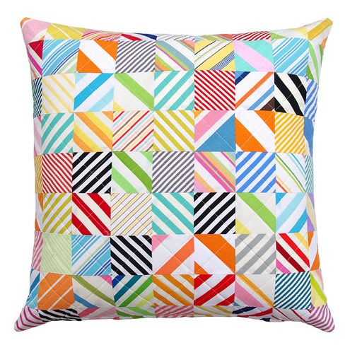 Vintage Stripes ~ Quilted Pillow Cover