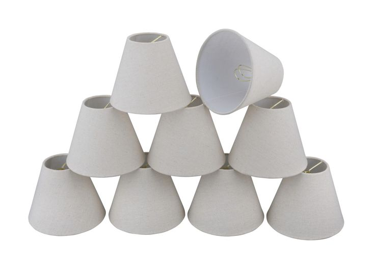 "# 32038-X Small Hardback Empire Shape Mini Chandelier Clip-On Lamp Shade, Transitional Design in Grey, 6"" bottom width (3"" x 6"" x 5"") - Sold in 2, 5, 6 & 9 Packs"