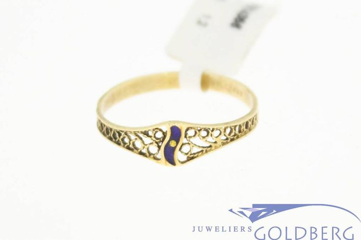 Vintage 14k gold ring with enamel. Now only € 54,-!  For more information visit our site:http://www.goldbergjuweliers.nl/en/vintage-14k-gold-ring-with-enamel.html