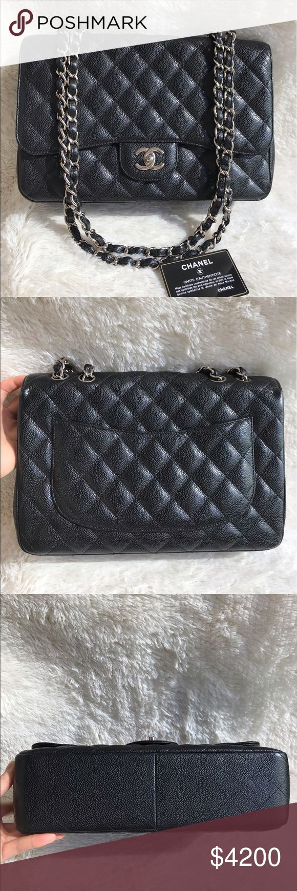 Authentic Chanel CF Jumbo Single Flap Black Caviar Classic Flap Jumbo in Single Flap, discontinued model hence you can't get it from Chanel store anymore. In pre-owned condition 8.5/10. With normal usage signs like scratches on hardware & creases on leather. Overall the condition is still good. With hologram, authenticity card & dust bag. Authenticity guaranteed otherwise full return. CHANEL Bags Shoulder Bags