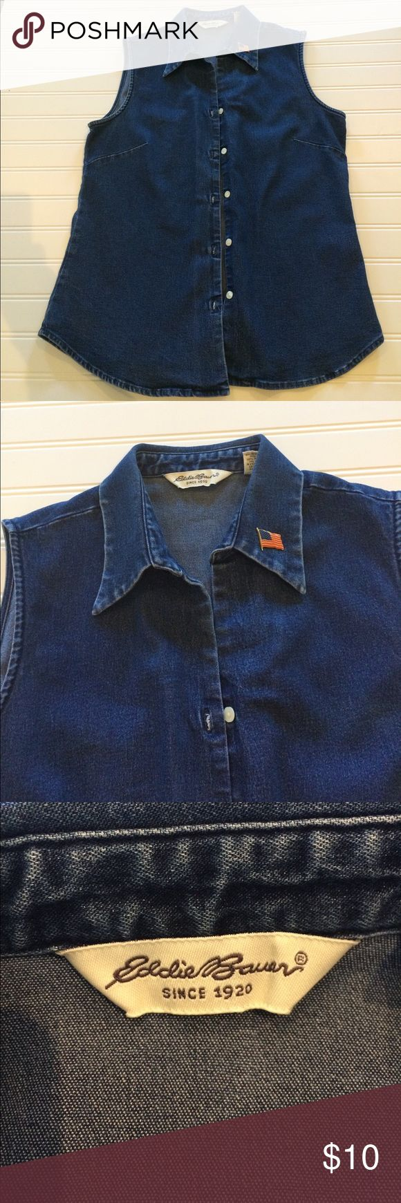Eddie Bauer denim shirt EUC denim shirt, American flag pin will be included🇺🇸 Eddie Bauer Tops