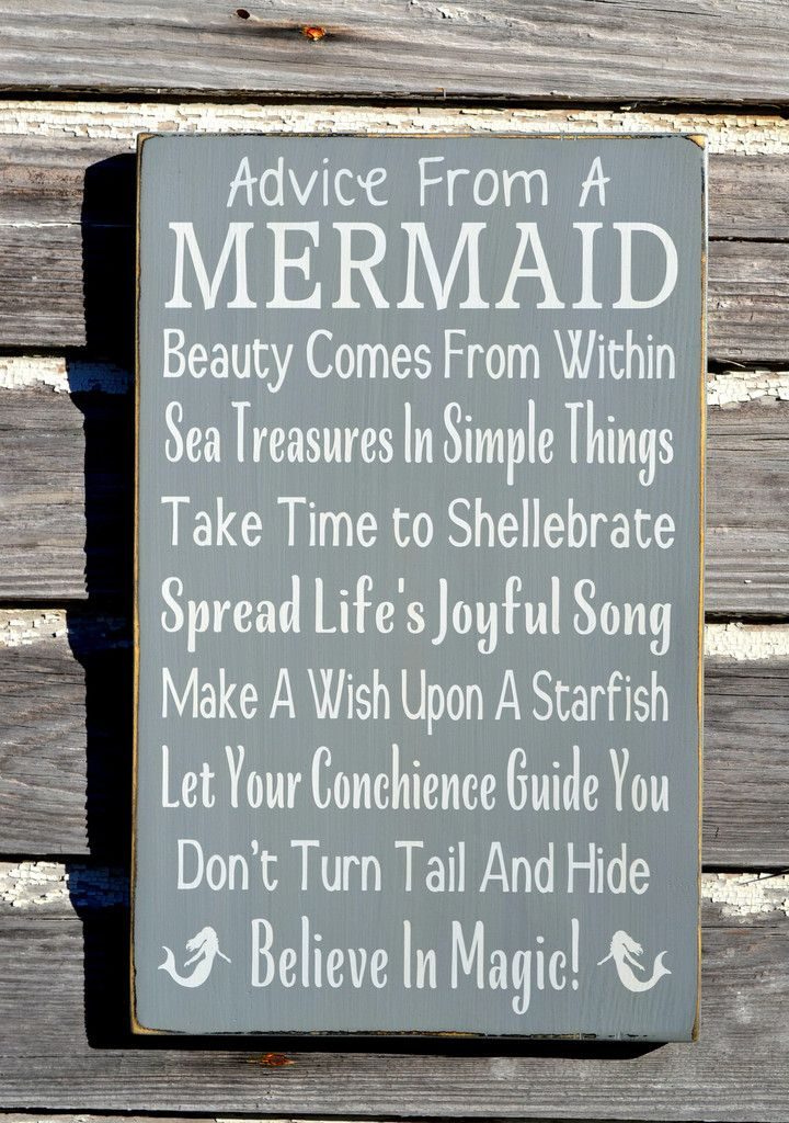 Mermaid Decor, Beach Signs Beach House Room Decor Advice From A Mermaid Sign Inspirational Positive Girls Teens Gift Ideas Nautical Wall Art