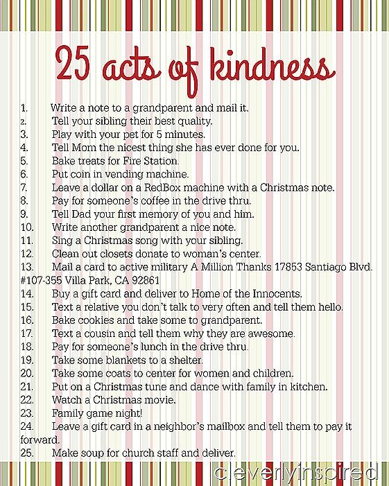 Hey all! Y'all still eatin and nappin? We are…and lovin it:) Wanted to pop in to share this printable for you to whip up a meaningful Advent calendar this weekend. Just print out the list (may want to enlarge a bit to make cutting easier:)….cut up the tasks….and put in 25 little envelopes or bags. …
