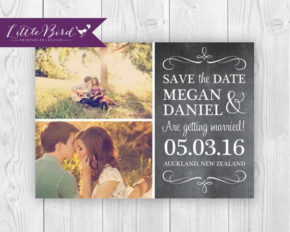 Save the Date printable announcement card! Perfect for the couple that wants to use their engagement photos in their save the date.