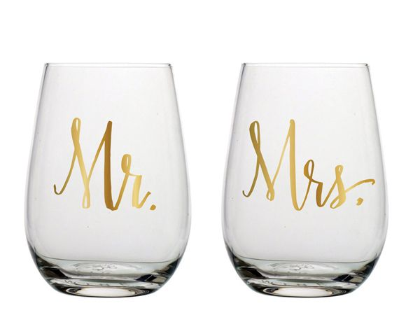 """Mr. & Mrs."" Stemless Wine Glasses (Set of 2)"
