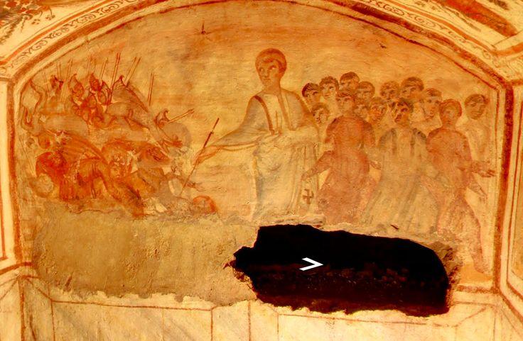 """Catacombe di via Latina, Roma, gli affreschi del IV secolo. Una vera e propria """"pinacoteca del IV secolo"""". Il cimitero è conosciuto anche col nome Ipogeo di via Dino Compagni"""