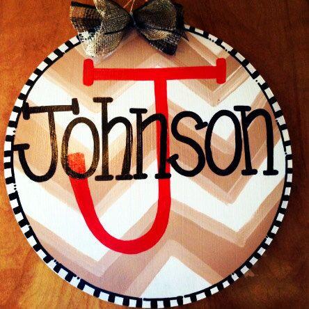 Personalized Round Door Hanger Welcome Door by JustPlainADoorAble