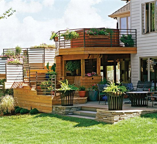 A Two Story Deck, Underdeck Shade Room And Grade Level Patio Seamlessly  Integrate The