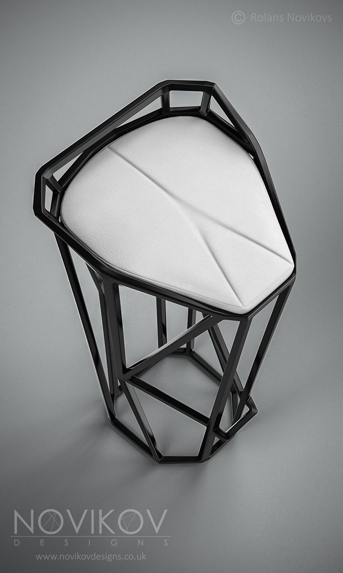 Octa Stool - Black high gloss frame with white leather seat by Novikov Designs www.novikovdesigns.co.uk
